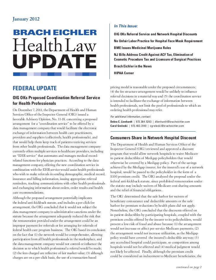 Health Law Update January 2012