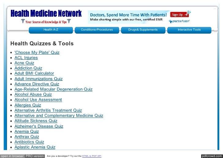 Healthmedicinet health quizzes & videos