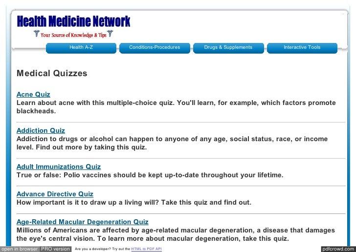 Healthmedicinet medical quizzes