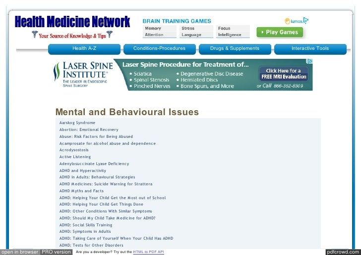 Healthmedicinet mental and behavioral issues