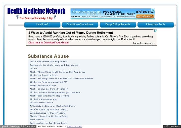 Healthmedicinet substance abuse