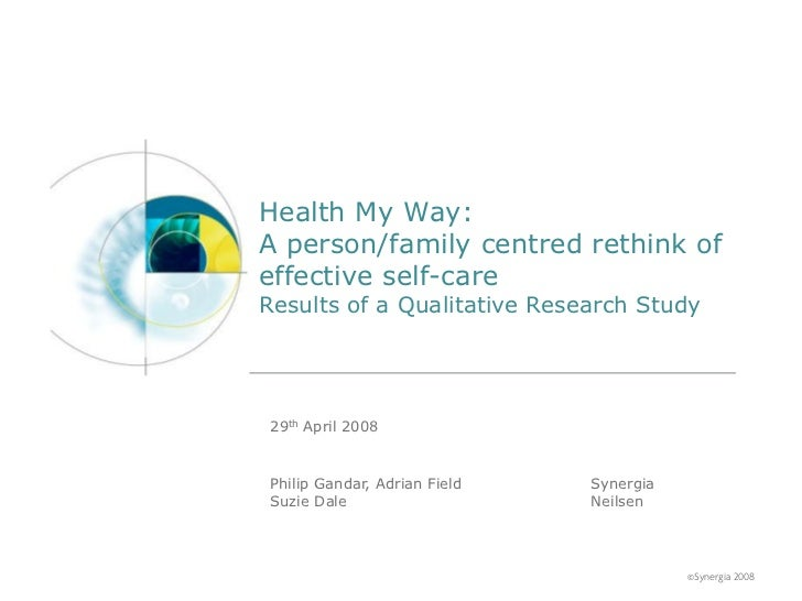 Health My Way:A person/family centred rethink ofeffective self-careResults of a Qualitative Research Study 29th April 2008...