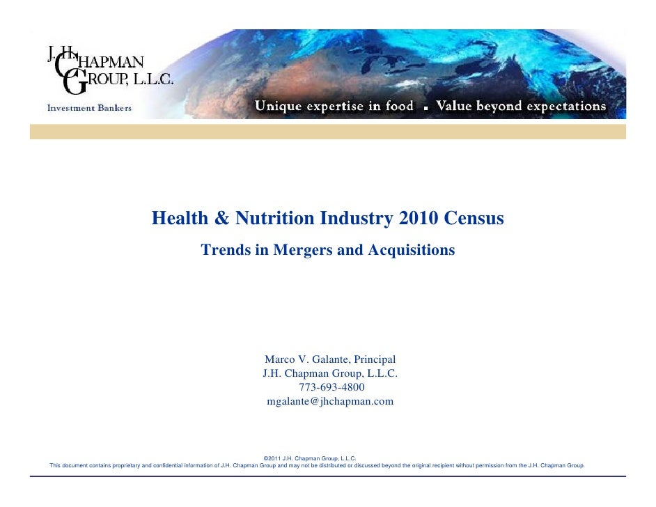 Health & Nutrition Industry 2010 Census - Trends in Mergers & Acquisitions