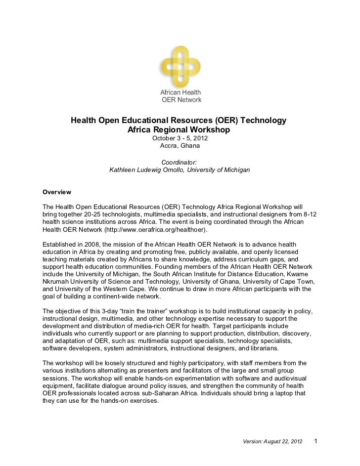 Health Open Educational Resources (OER) Technology                       Africa Regional Workshop                         ...