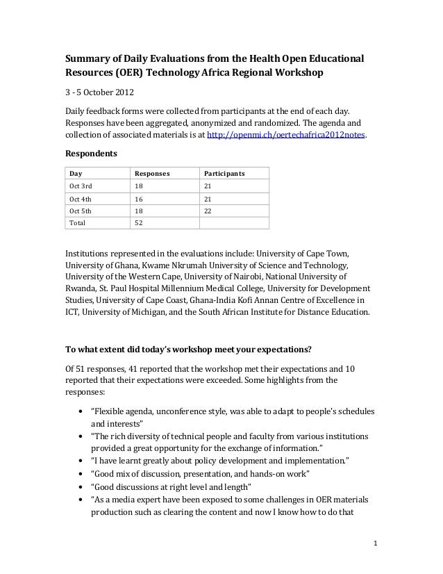 Summary of Daily Evaluations from the Health Open EducationalResources (OER) Technology Africa Regional Workshop3 - 5 Octo...