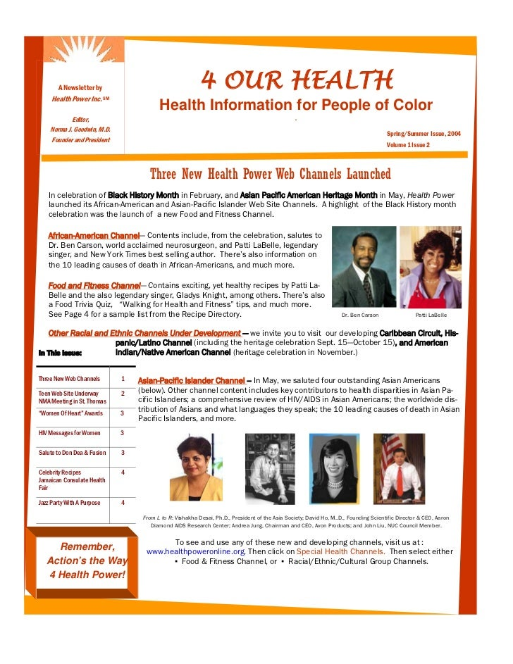 A Newsletter by                                     4 OUR HEALTH     Health Power Inc.      SM                            ...