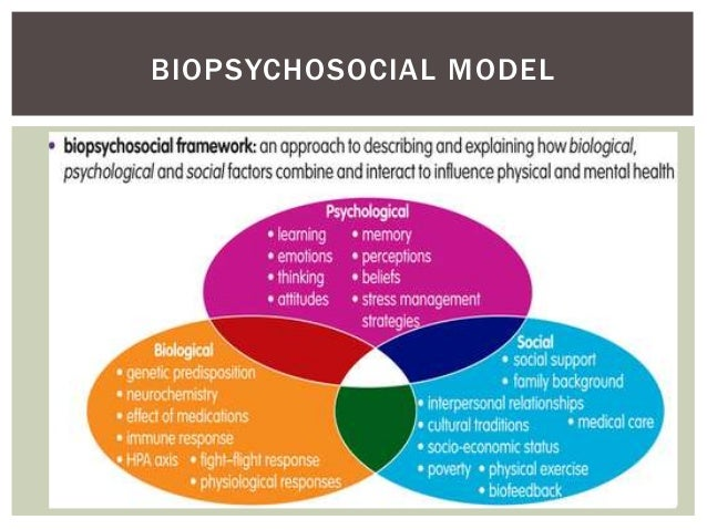 study on the biomedical model and biopsychosocial model The emergence of the biopsychosocial model (engel, 1977) and psychosocial rehabilitation has provided the mental health arena with an effective alternative to the biomedical model with an approach that is person-centred and recovery focused, it aligns with contemporary attitudes about mental disorders having their origins and impacts in a .