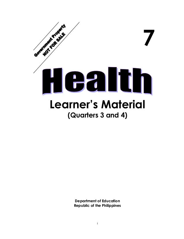 K TO 12 GRADE 7 LEARNING MODULE IN HEALTH (Q3-Q4)