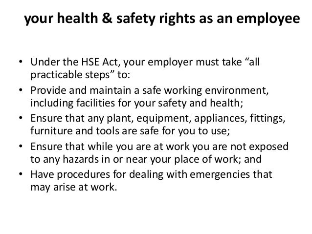 employment responsibilities and rights in health And health act (act) was created to employee rights and responsibilities arizona division of occupational safety and health workplace safety arizona labor laws or youth employment, contact the labor department of the industrial commission at 602-542-4515.