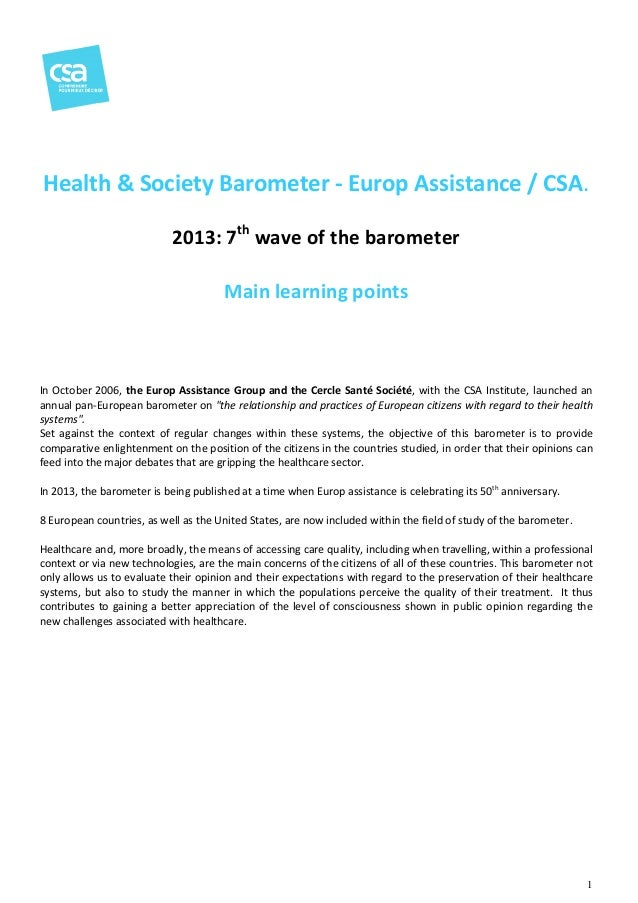 Health & Society Barometer - Europ Assistance / CSA CSA. 2013: 7th wave of the barometer Main learning points  In October ...
