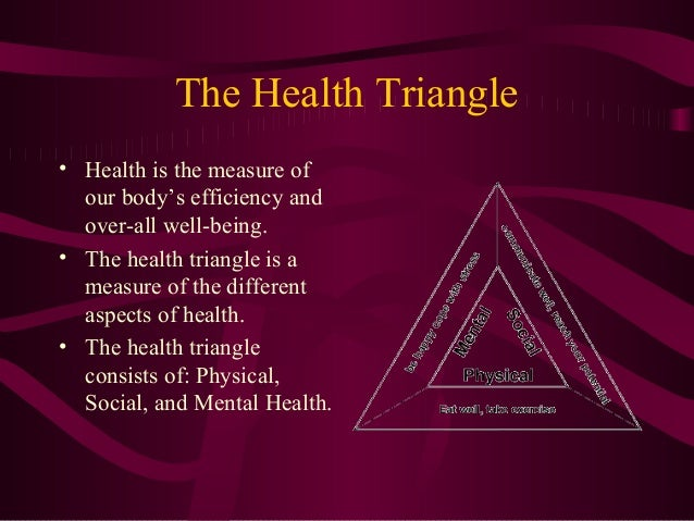 The Health Triangle • Health is the measure of our body's efficiency and over-all well-being. • The health triangle is a m...