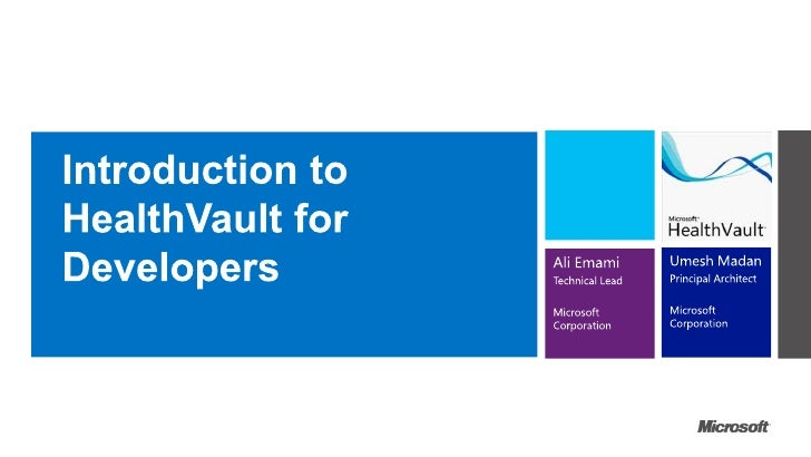 Health vault intro for developers