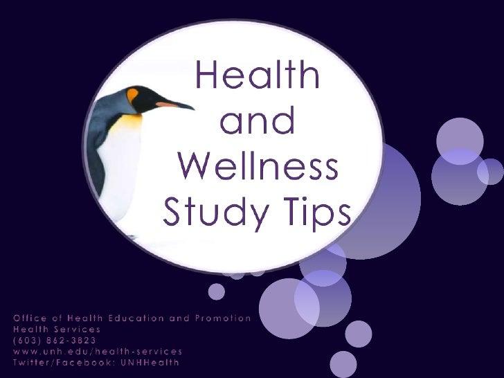Health and Wellness Study Tips