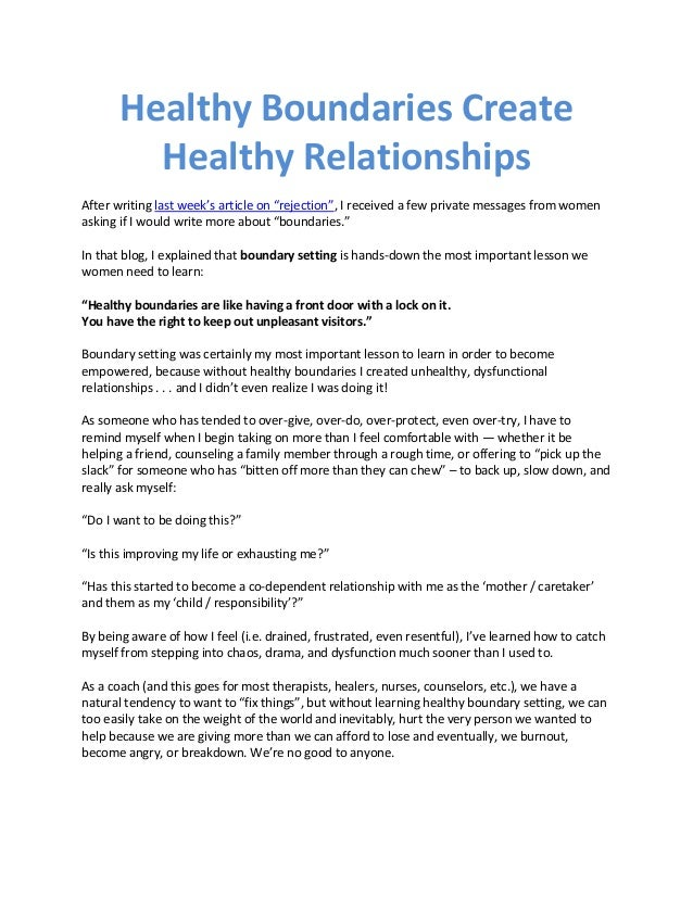 """Healthy Boundaries Create Healthy Relationships After writing last week's article on """"rejection"""", I received a few private..."""
