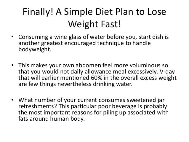 plan to lose weight quickly