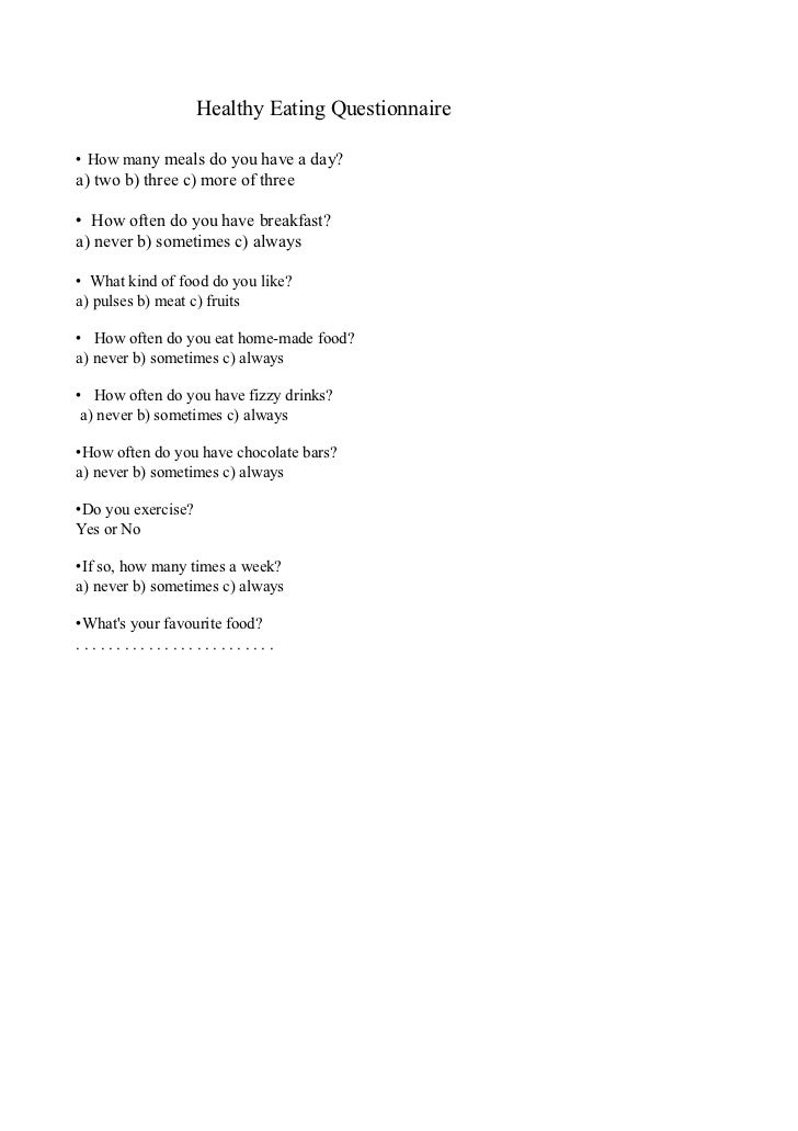 healthy eating questionnaire