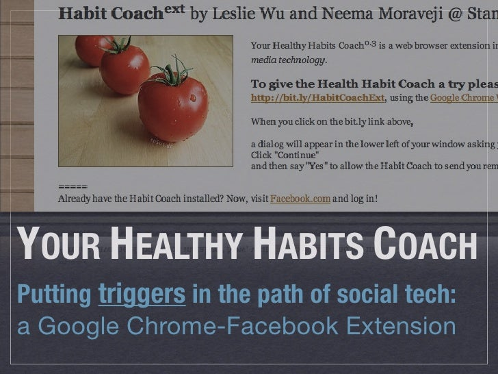 YOUR HEALTHY HABITS COACH Putting triggers in the path of social tech: a Google Chrome-Facebook Extension
