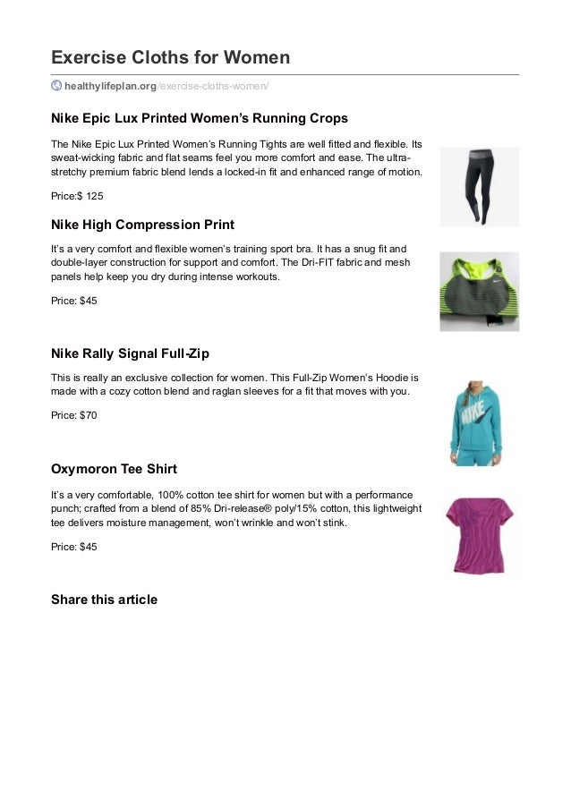 Exercise Cloths for Women healthylifeplan.org/exercise-cloths-women/ Nike Epic Lux Printed Women's Running Crops The Nike ...