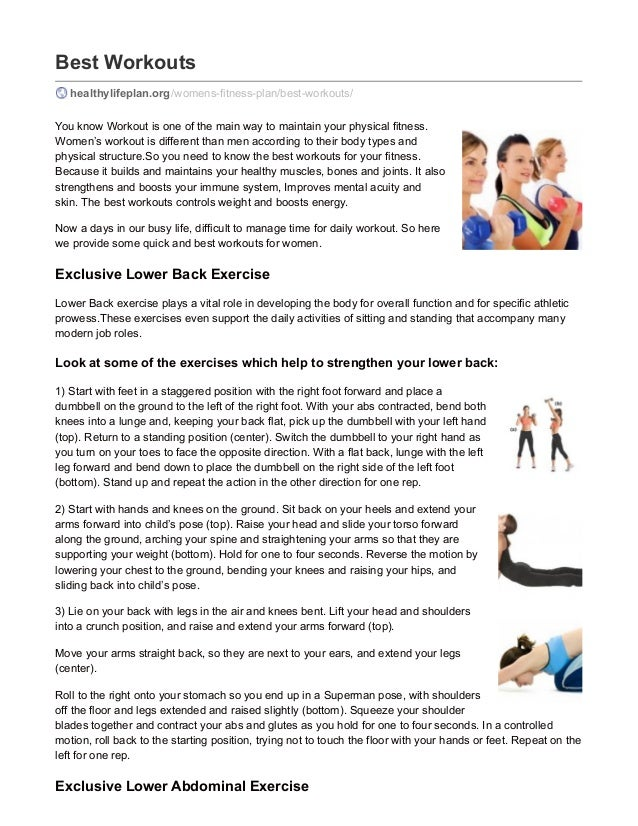 Best Workouts healthylifeplan.org/womens-fitness-plan/best-workouts/ You know Workout is one of the main way to maintain y...