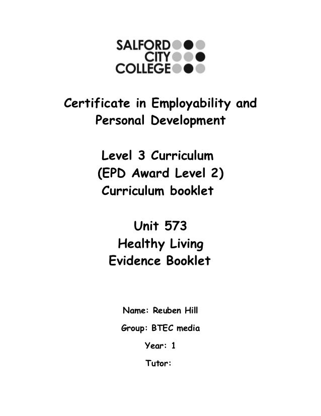 Certificate in Employability and     Personal Development      Level 3 Curriculum     (EPD Award Level 2)      Curriculum ...