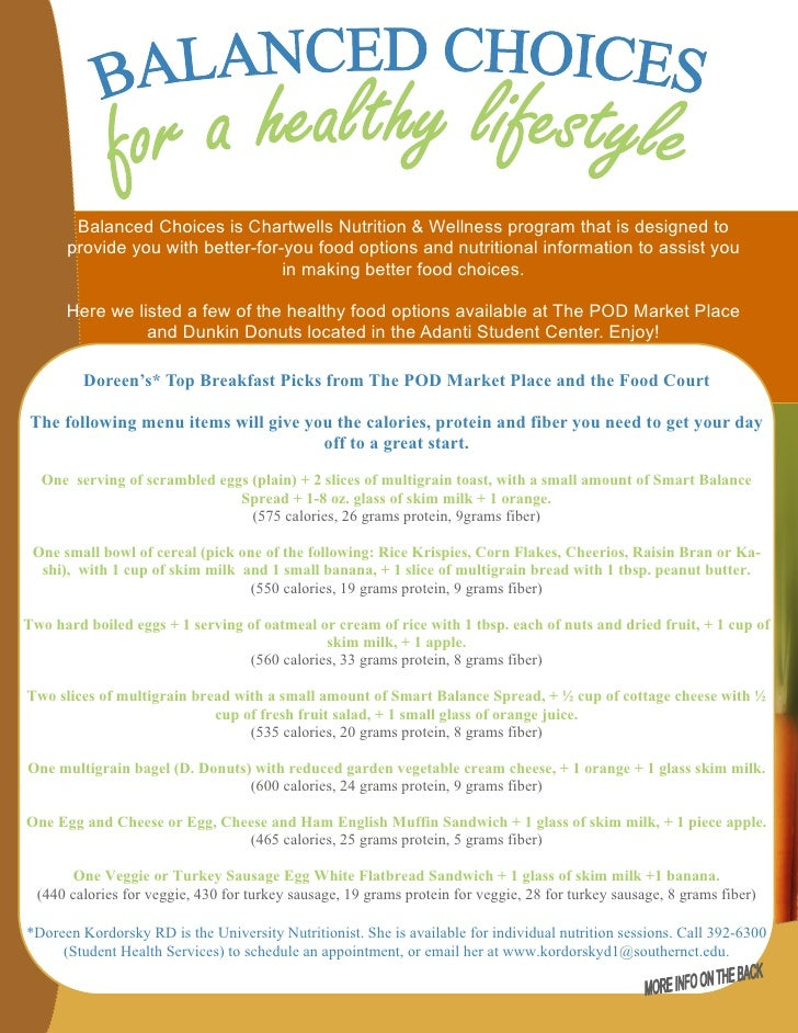 Balanced Choices is Chartwells Nutrition & Wellness program that is designed to      provide you with better-for-you food ...