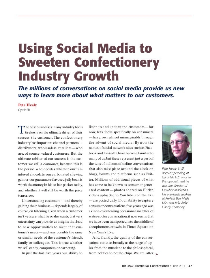 Using Social Media toSweeten ConfectioneryIndustry GrowthThe millions of conversations on social media provide us newways ...