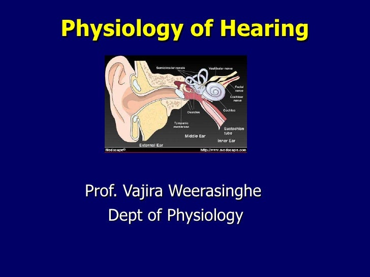 Physiology of Hearing Prof. Vajira Weerasinghe  Dept of Physiology