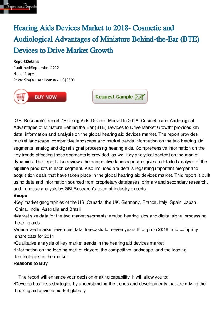 Hearing Aids Devices Market to 2018- Cosmetic and Audiological Advantages of Miniature Behind-the-Ear (BTE) Devices to Drive Market Growth