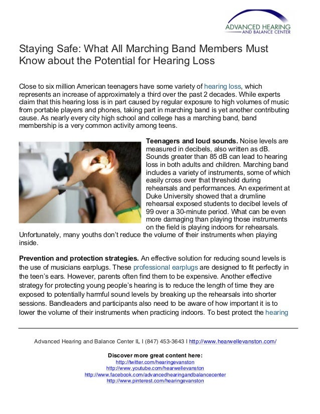 Staying Safe: What All Marching Band Members Must Know about the Potential for Hearing Loss