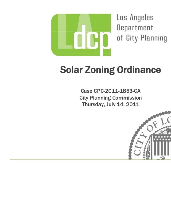 Solar Zoning Ordinance    Case CPC-2011-1853-CA    City Pl    Cit Planning Commission             i gC        i i     Thur...