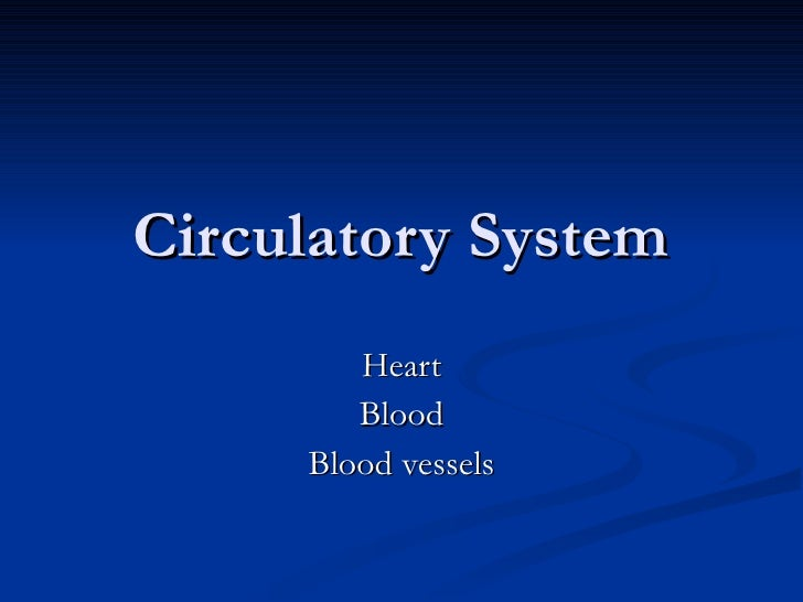 Circulatory System Heart Blood Blood vessels