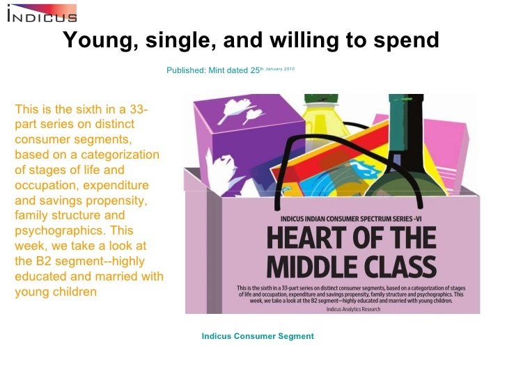 Young, single, and willing to spend Published: Mint dated 25 th  January 2010 This is the sixth in a 33-part series on dis...