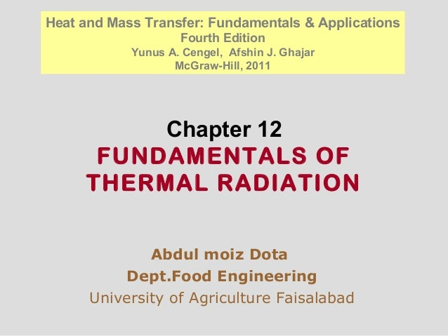 Chapter 12 FUNDAMENTALS OF THERMAL RADIATION Abdul moiz Dota Dept.Food Engineering University of Agriculture Faisalabad He...