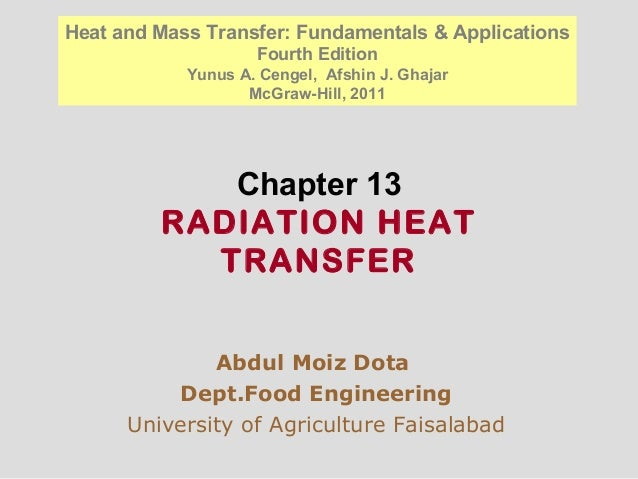Chapter 13 RADIATION HEAT TRANSFER Abdul Moiz Dota Dept.Food Engineering University of Agriculture Faisalabad Heat and Mas...