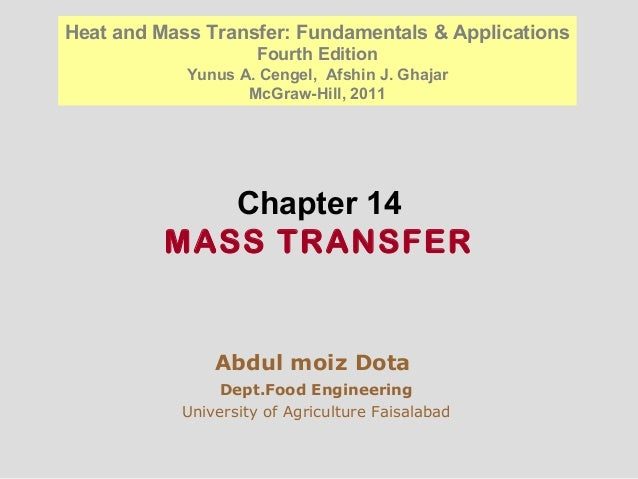 Chapter 14 MASS TRANSFER Abdul moiz Dota Dept.Food Engineering University of Agriculture Faisalabad Heat and Mass Transfer...