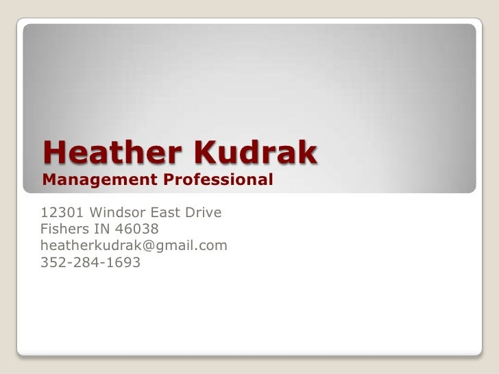 Heather kudrak Management Professional