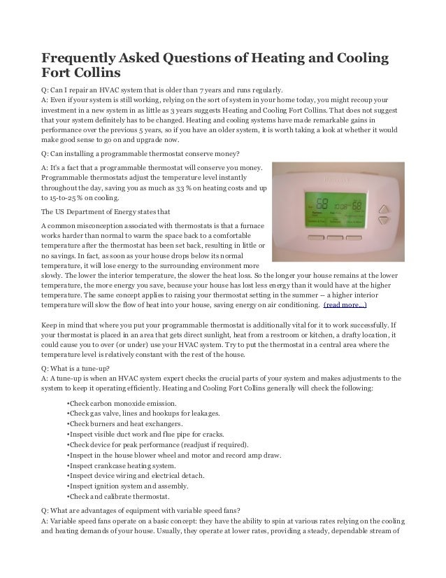 Heating and cooling fort collins faq