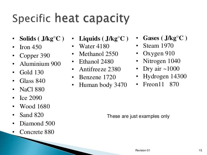 Electrical heating for Specific heat table j gc