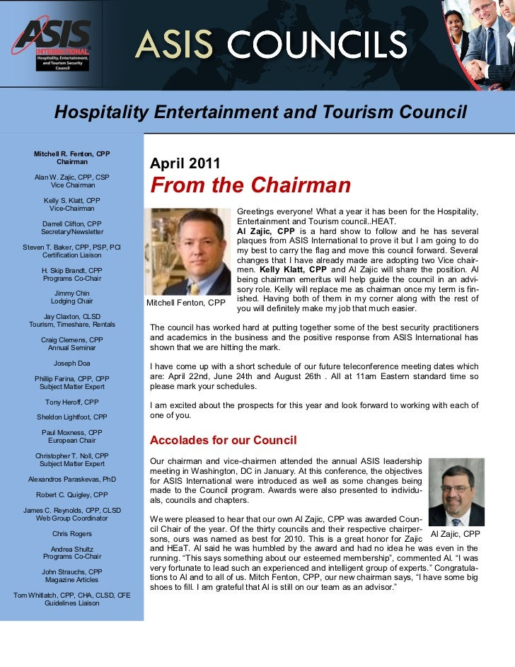 Hospitality Entertainment and Tourism Council      Mitchell R. Fenton, CPP            Chairman                            ...