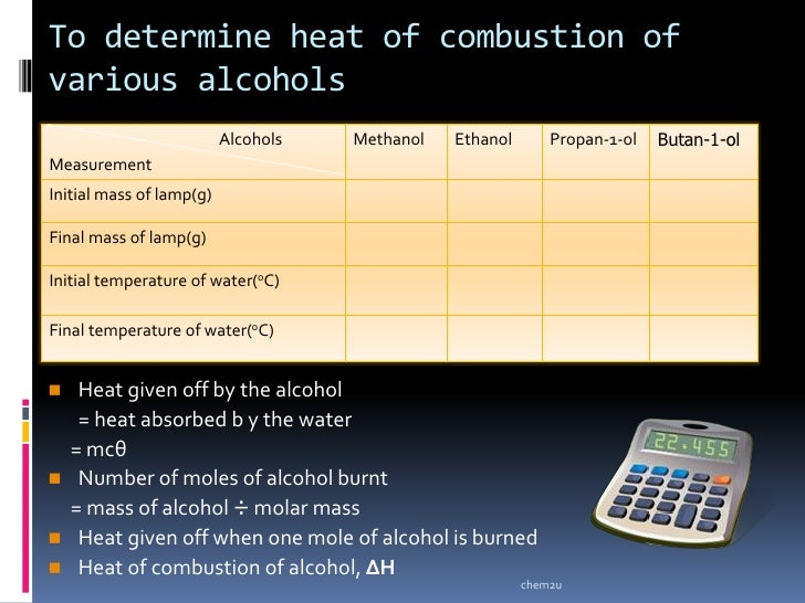 alcohol combustion Combustion analysis can determine the empirical formula of a compound, but   example \(\pageindex{3}\): combustion of isopropyl alcohol.