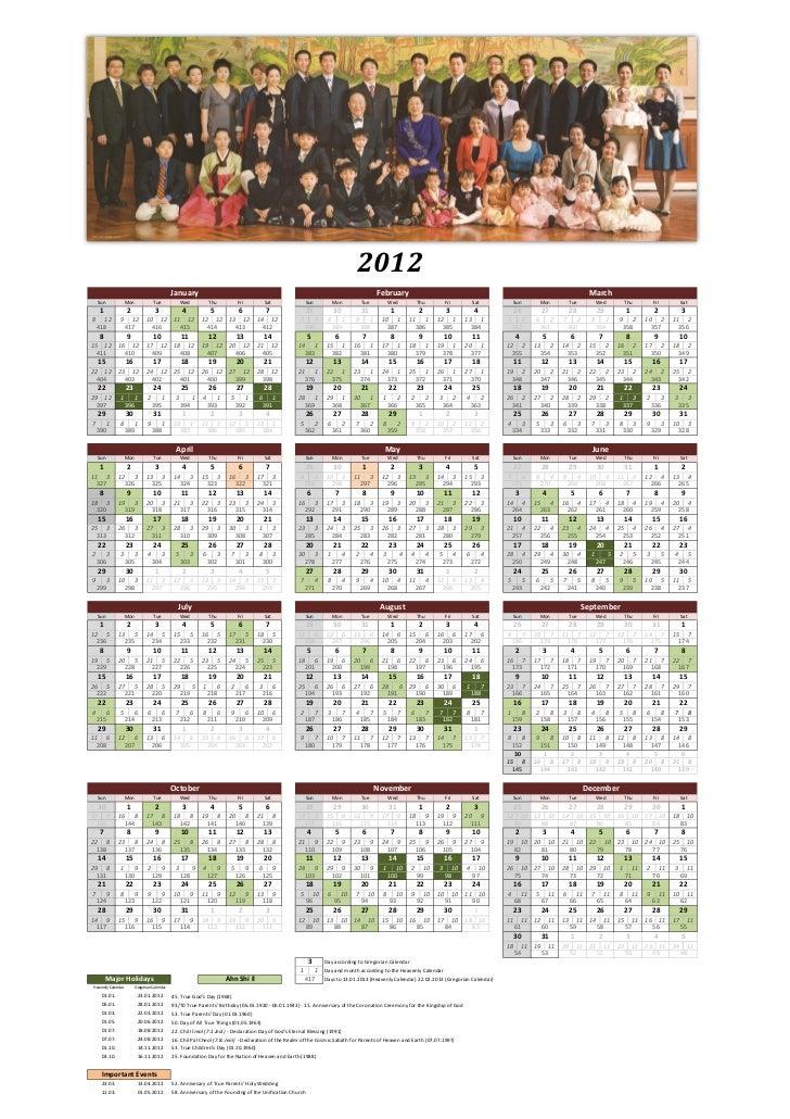 Heavenly Calendar 2012