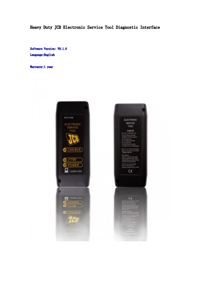 Heavy Duty JCB Electronic Service Tool Diagnostic Interface  Software Version: V8.1.0 Language:English  Warranty:1 year