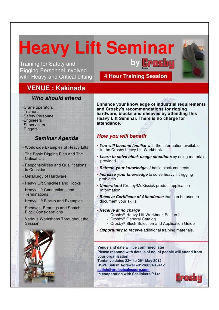 Heavy Lift Seminar   Training for Safety and                                      byRigging Personnel involved with ...