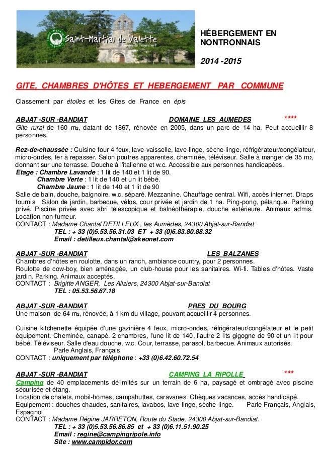HÉBERGEMENT EN NONTRONNAIS  2014 -2015  GITE, CHAMBRES D'HÔTES ET HEBERGEMENT PAR COMMUNE  Classement par étoiles et les G...
