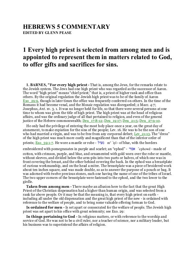 Hebrews 5 commentary
