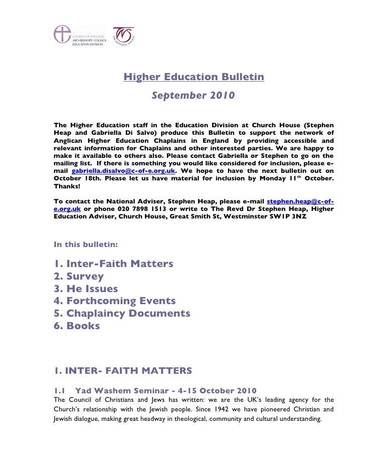 Higher Education Bulletin                                September 2010  The Higher Education staff in the Education Divis...