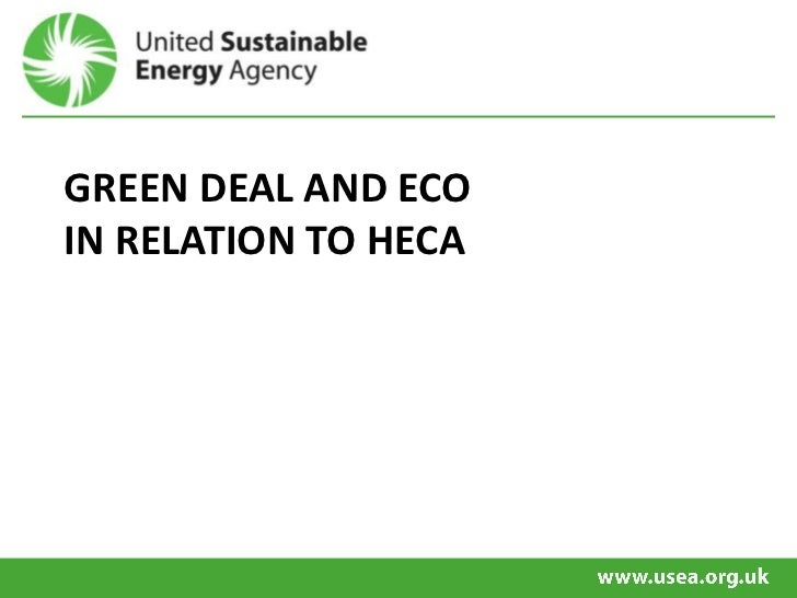 GREEN DEAL AND ECOIN RELATION TO HECA