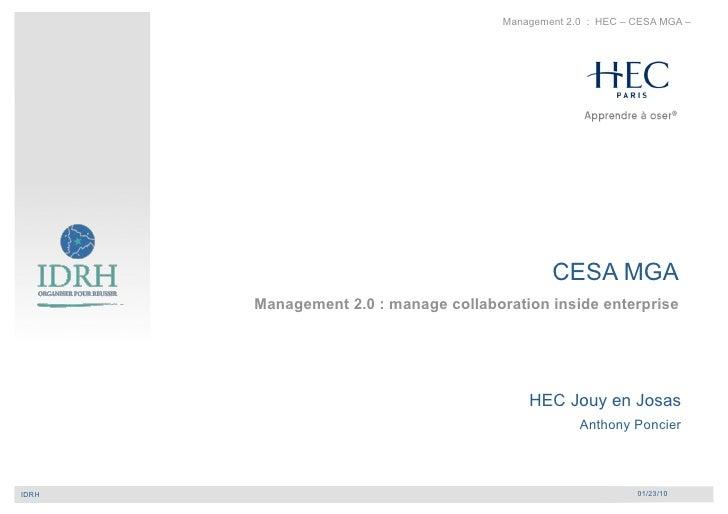 Management 2.0 : HEC – CESA MGA –                                                         CESA MGA             Management ...