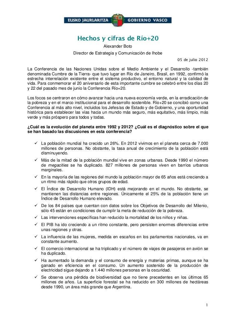 Hechos y cifras de Río+20                                        Alexander Boto                        Director de Estrate...