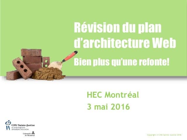 Copyright © CHU Sainte-Justine 2016 HEC Montréal 3 mai 2016 Révision du plan d'architecture Web Bien plus qu'une refonte!